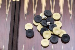 Backgammon game with two dice, with space for text or image.  royalty free stock images