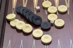 Backgammon game with two dice, with space for text or image.  stock photo