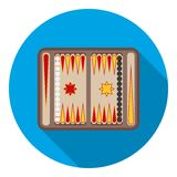 Backgammon icon in flat style  on white background. Board games symbol stock vector illustration. Backgammon icon in flat style  on white background. Board Stock Photo