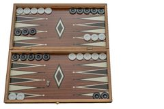 Backgammon, open with checkers on set, on white background, isolated stock images