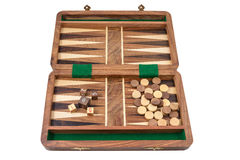 Backgammon. The backgammon is photographed on the white background Stock Photo