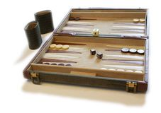 Backgammon set. A backgammon board against a white background Royalty Free Stock Photo
