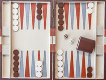 Backgammon set with dice Royalty Free Stock Image