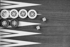 Backgammon table Turkish tavla and double six dice closeup Stock Image