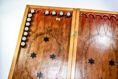 backgammon Tavola reale fatta a mano fotografia stock libera da diritti