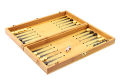 Backgammon. Wood backgammon over white background Royalty Free Stock Photography