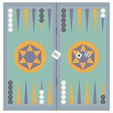 Backgammon on the wooden box, three dice and chips. Royalty Free Stock Photos