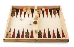 Backgammonguckkastenbühne - hölzernes Spielspielzeug stockbilder