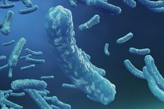 backgorund del virus dell'illustrazione 3D Influenza del virus, epatite, AIDS, E coli, bacillo dei due punti Concetto di scienza  illustrazione di stock
