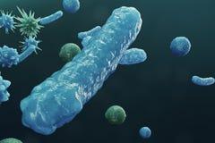 backgorund del virus del ejemplo 3D Los virus gripe, hepatitis, AYUDAN, E coli, bacilo de los dos puntos Concepto de ciencia y stock de ilustración