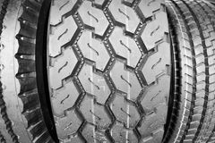 Backgorund of many black rubber tyres Stock Images