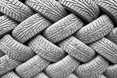Backgorund of many black rubber tyres Stock Photography