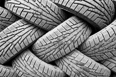 Backgorund of many black rubber tyres Stock Photos