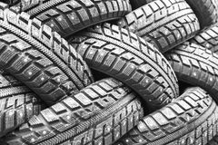 Backgorund of many black rubber tyres Royalty Free Stock Photo