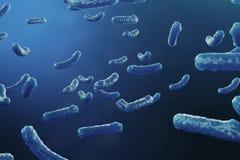 backgorund Virus der Illustration 3D Virusgrippe, Hepatitis, AIDS, E Coli, Doppelpunktbazillus Konzept der Wissenschaft und lizenzfreie abbildung