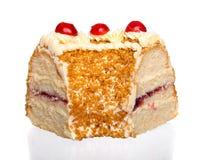 backgound蛋糕樱桃查出的范例文本白色 免版税库存照片