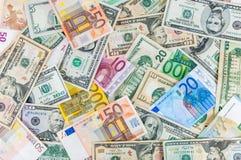 Backgound доллара и евро Стоковое Фото