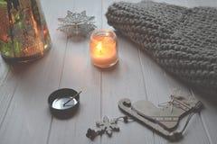 Backgound стиля зимы Объекты для домашнего украшения Стоковые Изображения RF