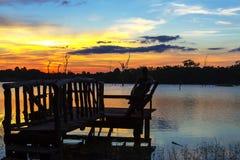 Backgound de la puesta del sol en laguna Fotografía de archivo