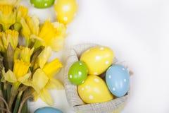 Backgound di Pasqua fuori dalle uova dipinte e dai fiori gialli Immagine Stock Libera da Diritti