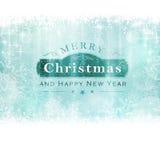 Backgound för glad jul med etiketten och snöflingor Arkivfoto