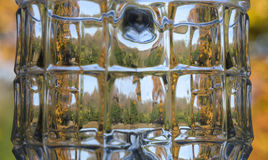 Backgound glass. Unfocused view forest views through the glass stock photography