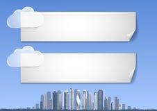 Backgound met blauwe hemel, abstracte stad, wolkenkrabbers op de horizon Royalty-vrije Stock Fotografie