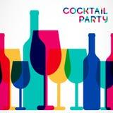 抽象五颜六色的鸡尾酒杯和酒瓶无缝的backgr 库存照片