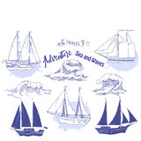 Backgr ships waves-02. Sea background with waves and ships.Hand drawn elements for summer holidays.Travel, marin and ocean. Vector Illustration royalty free illustration