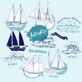 Backgr ships waves2-01. Sea background with waves and ships.Hand drawn elements for summer holidays.Travel, marin and ocean. Vector Illustration Stock Images