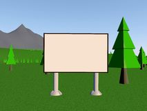 Backgraund. Image billboard (screen) on the background of the lake, mountains, trees. 3d render Stock Illustration