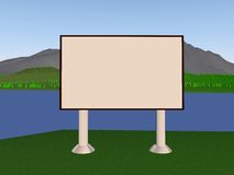 Backgraund. Image billboard (screen) on the background of the lake, mountains, trees. 3d render Vector Illustration
