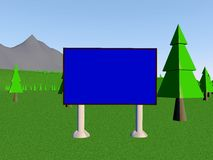 Backgraund. Image billboard (screen) on the background of mountains and trees. 3d render Vector Illustration