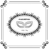 Backgraund preto e branco do carnaval, máscara do vintage, partido da máscara Foto de Stock Royalty Free