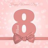 Backgro дня ` s женщин шаблона поздравительной открытки 8-ое марта международное Стоковое Изображение RF