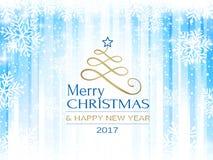 Backgro blanco azul abstracto de la tipografía de la Feliz Navidad del copo de nieve Imagenes de archivo