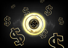 Backgro för begrepp för mynt för världsomspännande finansiering för Digital valuta guld- Royaltyfria Bilder
