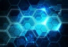 Backgro för Digital begreppsmässig sexhörnig randig affärsteknologi Arkivbild