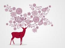 Backgro hermoso del reno del vintage de la Feliz Navidad ilustración del vector