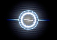 Backgro ligero azul moderno abstracto tecnológico del interfaz de reloj Imagen de archivo libre de regalías