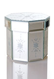 backgro pudełkowatego biżuterii lustra ośmioboka kształtny biel Fotografia Stock