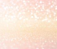 Backgro rose blanc d'abrégé sur Noël de texture de bokeh de scintillement d'or Image stock