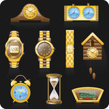 backgrond czarny ikony ustaleni zegarki Obrazy Stock