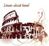 Backgrond de Grunge com Colosseum Fotografia de Stock Royalty Free