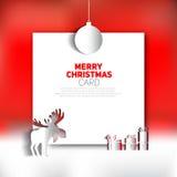 Backgronud del rojo de la tarjeta de felicitación de la Feliz Navidad Foto de archivo