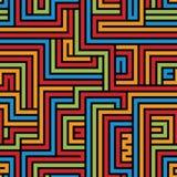 五颜六色的迷宫无缝的样式,几何简单的传染媒介backgrou 免版税图库摄影