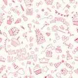 Безшовная картина с элементами дня рождения Backgrou вечеринки по случаю дня рождения Стоковое Изображение