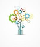 Backgrou abstracto del negocio de la tecnología de la calculadora numérica del árbol del engranaje
