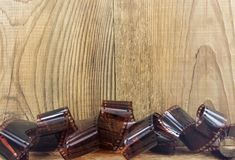 Backgrou di legno delle pellicole negative di millimetro Fotografia Stock