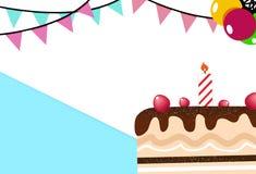Backgrou do sumário do cartão do partido do bolo e da celebração do feliz aniversario ilustração do vetor